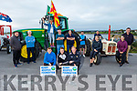 "The Blennerville Threshing committee launch their Tractor Run fundraiser  ""Into the West"" for the Kerry Hospice on Monday evening, the tractor run is due to the fact that Covid has cancelled the Trashing Festival and the run is going ahead at 12 o'clock Sunday in Blennerville. Kneeling: David and Sean Kerins and Tim Daly. Back l to r: Donal Coppinger, Tadgh Kerins, Denis Murphy, Donal O'Riordan, Kieran O'Shea, Karen Walsh, Siobhan Ryan and John Kerins. Standing on the tractor is Maura O'Sullivan."