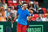 The Hague, The Netherlands, September 15, 2017,  Sportcampus , Davis Cup Netherlands - Chech Republic, First Rubber: Jiri Vesely (CZE) makes a fist<br /> Photo: Tennisimages/Henk Koster