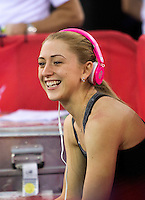 06 DEC 2014 - STRATFORD, LONDON, GBR - Laura Trott (GBR) remains calm before the start of the Omnium at the 2014 UCI Track Cycling World Cup  at the Lee Valley Velo Park in Stratford, London, Great Britain (PHOTO COPYRIGHT © 2014 NIGEL FARROW, ALL RIGHTS RESERVED)