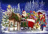 Interlitho-Franco, CHRISTMAS SANTA, SNOWMAN, WEIHNACHTSMÄNNER, SCHNEEMÄNNER, PAPÁ NOEL, MUÑECOS DE NIEVE, paintings+++++,santa sleigh,forrest,KL6182,#x# ,puzzle,puzzles