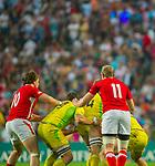 Wales play Australia on Day 1 of the Cathay Pacific / HSBC Hong Kong Sevens 2013 at Hong Kong Stadium, Hong Kong. Photo by Manuel Queimadelos / The Power of Sport Images