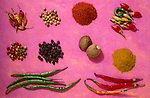 Paprika, curry, poivre rouge, noix de muscade, poivre vert. *** Paprika, curry, red pepper, nutmeg, green pepper.