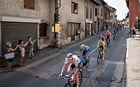 yellow jersey / GC leader Primoz Roglic (SVK/Jumbo-Visma) rolling through town<br /> <br /> Stage 17 from Grenoble to Méribel - Col de la Loze (170km)<br /> <br /> 107th Tour de France 2020 (2.UWT)<br /> (the 'postponed edition' held in september)<br /> <br /> ©kramon