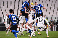 Romelu Lukaku of FC Internazionale , Merih Demiral of Juventus FC and Milan Skriniar of FC Internazionale compete for the ball during the Italy cup semifinal football match between Juventus FC and FC Internazionale at Allianz stadium in Torino (Italy), February 9th, 2021. Photo Federico Tardito / Insidefoto