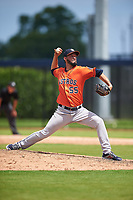 GCL Astros pitcher Elian Rodriguez (55) during a Gulf Coast League game against the GCL Nationals on August 9, 2019 at FITTEAM Ballpark of the Palm Beaches training complex in Palm Beach, Florida.  GCL Nationals defeated the GCL Astros 8-2.  (Mike Janes/Four Seam Images)