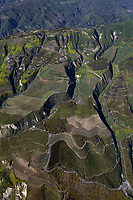 aerial photograph of mountainside farming in spring outside of La Conchita, Ventura County, California
