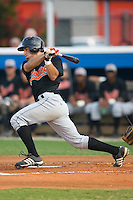 Robert Stevens (30) of the Bluefield Orioles follows through on his swing at Burlington Athletic Park in Burlington, NC, Saturday, July 26, 2008. (Photo by Brian Westerholt / Four Seam Images)