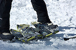 Winter Trails Day in Rocky Mountain National Park; people try snowshoeing and learn through demonstrations of outdoor winter activities, February 2008, Colorado, USA, Rocky Mountains.