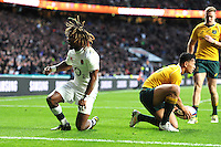 Marland Yarde of England shows how much it means to score a try during the Old Mutual Wealth Series match between England and Australia at Twickenham Stadium on Saturday 3rd December 2016 (Photo by Rob Munro)