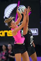 NZ A's Kate Heffernan takes a pass during the Cadbury Netball Series match between NZ A and NZ Under-21 at the Fly Palmy Arena in Palmerston North, New Zealand on Saturday, 24 October 2020. Photo: Dave Lintott / lintottphoto.co.nz