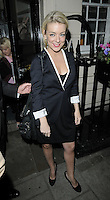 "SHERIDAN SMITH .Departed after the first preview performance of ""Flare Path"", Haymarket, London, England, UK, 4th March 2011..full length black dress white sleeves trim shoes coat  jacket blazer dress .CAP/CAN.©Can Nguyen/Capital Pictures."