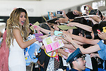 Dina-Jane Hansen a member of the American five-piece girl group Fifth Harmony greets fans upon her arrival at Narita International Airport on July 7, 2016, Chiba, Japan. Fifth Harmony are in Japan for the first time to promote their new song Work from Home. Fifth Harmony flew 25 hours from Sau Paulo to Japan after finishing their tour of South America. (Photo by Rodrigo Reyes Marin/AFLO)