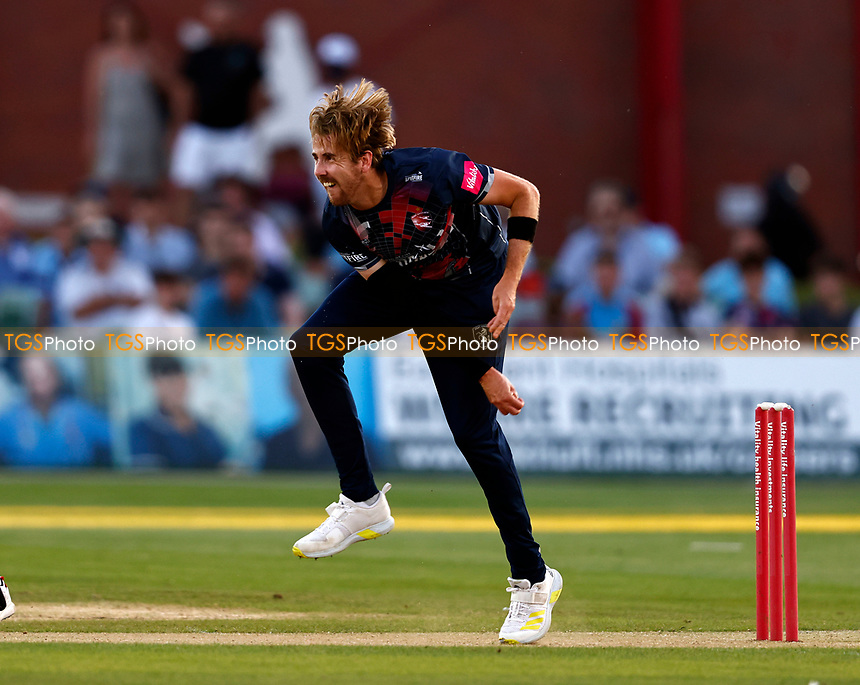 Matt Quinn bowls for Kent during Kent Spitfires vs Sussex Sharks, Vitality Blast T20 Cricket at The Spitfire Ground on 18th July 2021