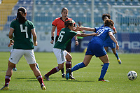 20190227 - LARNACA , CYPRUS : Italian forward Cristiana Girelli (right) fighting for the ball with Mexican midfielder Karla Nieto (middle) during a women's soccer game between Mexico and Italy , on Wednesday 27 February 2019 at the Antonis Papadopoulos Stadium in Larnaca , Cyprus . This is the first game in group B for both teams during the Cyprus Womens Cup 2019 , a prestigious women soccer tournament as a preparation on the FIFA Women's World Cup 2019 in France and the Uefa Women's Euro 2021 qualification duels. PHOTO SPORTPIX.BE | STIJN AUDOOREN