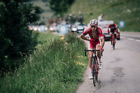Team Cofidis rider welcomed up the last climb by nature's own confetti... <br /> <br /> Stage 5: Grenoble > Valmorel (130km)<br /> 70th Critérium du Dauphiné 2018 (2.UWT)