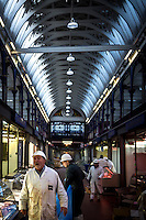 UK. London. 24th February 2014<br /> Meat traders at Smithfield market.<br /> ©Andrew Testa for the New York Times