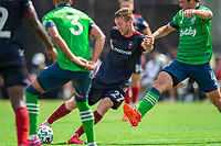 LAKE BUENA VISTA, FL - JULY 14: Robert Beric #27 of the Chicago Fire kicks the ball during a game between Seattle Sounders FC and Chicago Fire at Wide World of Sports on July 14, 2020 in Lake Buena Vista, Florida.