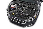 Car Stock 2015 Ford Focus Trend 5 Door Hatchback 2WD Engine high angle detail view
