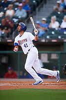 Buffalo Bisons first baseman Chris Colabello (41), on rehab assignment from the Toronto Blue Jays, hits a home run in the bottom of the first inning during a game against the Norfolk Tides on July 18, 2016 at Coca-Cola Field in Buffalo, New York.  Norfolk defeated Buffalo 11-8.  (Mike Janes/Four Seam Images)