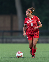 NEWTON, MA - AUGUST 29: Marli Rajacich #8 of Boston University looks to pass during a game between Boston University and Boston College at Newton Campus Field on August 29, 2019 in Newton, Massachusetts.