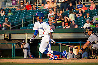 Byron Buxton (7) of the Chattanooga Lookouts bats during a game between the Jackson Generals and Chattanooga Lookouts at AT&T Field on May 7, 2015 in Chattanooga, Tennessee. (Brace Hemmelgarn/Four Seam Images)
