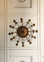 BNPS.co.uk (01202) 558833. <br /> Pic: Duke's/BNPS<br /> <br /> Pictured: This important Empire giltwood and gilt metal chandelier, c 1820, has an estimate of £25,000.  <br /> <br /> The lavish contents of one of Britain's most beautiful stately homes are being auctioned off in a £1m everything must go sale.<br /> <br /> Wormington Grange has been owned since the 1970s by John Evetts, the grandson of Lord Ismay, Winston Churchill's chief military strategist during World War Two.<br /> <br /> Mr Evetts has sold the £15m neoclassical Cotswolds mansion as he is downsizing to a smaller property in the area.<br /> <br /> The sale, to be conducted by Duke's, of Dorchester, Dorset, features over 1,000 items ranging in value from £50 kitchen glasses to £100,000 works of art.