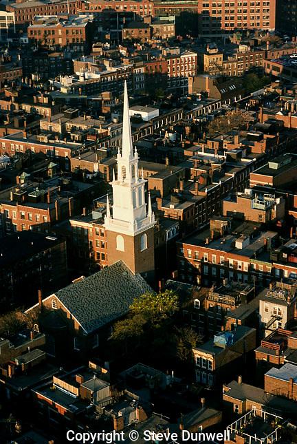 Aerial view, Old North Church, Boston, MA (wm Price, architect, 1723)