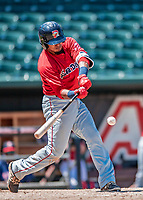 31 May 2018: Portland Sea Dogs infielder Deiner Lopez in action against the New Hampshire Fisher Cats at Northeast Delta Dental Stadium in Manchester, NH. The Sea Dogs rallied to defeat the Fisher Cats 12-9 in extra innings. Mandatory Credit: Ed Wolfstein Photo *** RAW (NEF) Image File Available ***