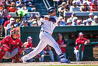 14 March 2014: Detroit Tigers first baseman Victor Martinez in action during a Spring Training Game against the Washington Nationals at Joker Marchant Stadium in Lakeland, Florida. The Tigers defeated the Nationals 12-6 in Grapefruit League play. Mandatory Credit: Ed Wolfstein Photo *** RAW (NEF) Image File Available ***