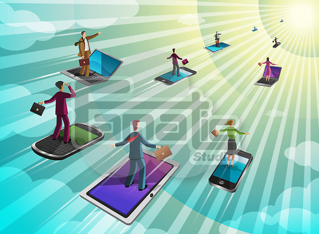 Businesspeople moving on computer gadgets towards the sun rays