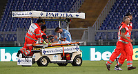 Calcio, Serie A: Lazio vs Bologna. Roma, stadio Olimpico, 22 agosto 2015.<br /> Lazio's Lucas Biglia is carried out of the pitch after being injured during the Italian Serie A football match between Lazio and Bologna at Rome's Olympic stadium, 22 August 2015.<br /> UPDATE IMAGES PRESS/Isabella Bonotto