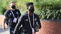 Joel Valencia of Brentford arrives at the ground wearing his face mask ahead of kick-off during Brentford vs Barnsley, Sky Bet EFL Championship Football at Griffin Park on 22nd July 2020