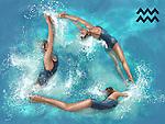 Illustrative image of women performing aerobics representing Aquarius sign