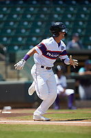Mitch Roman (16) of the Winston-Salem Rayados hustles down the first base line against the Lynchburg Hillcats at BB&T Ballpark on June 23, 2019 in Winston-Salem, North Carolina. The Hillcats defeated the Rayados 12-9 in 11 innings. (Brian Westerholt/Four Seam Images)