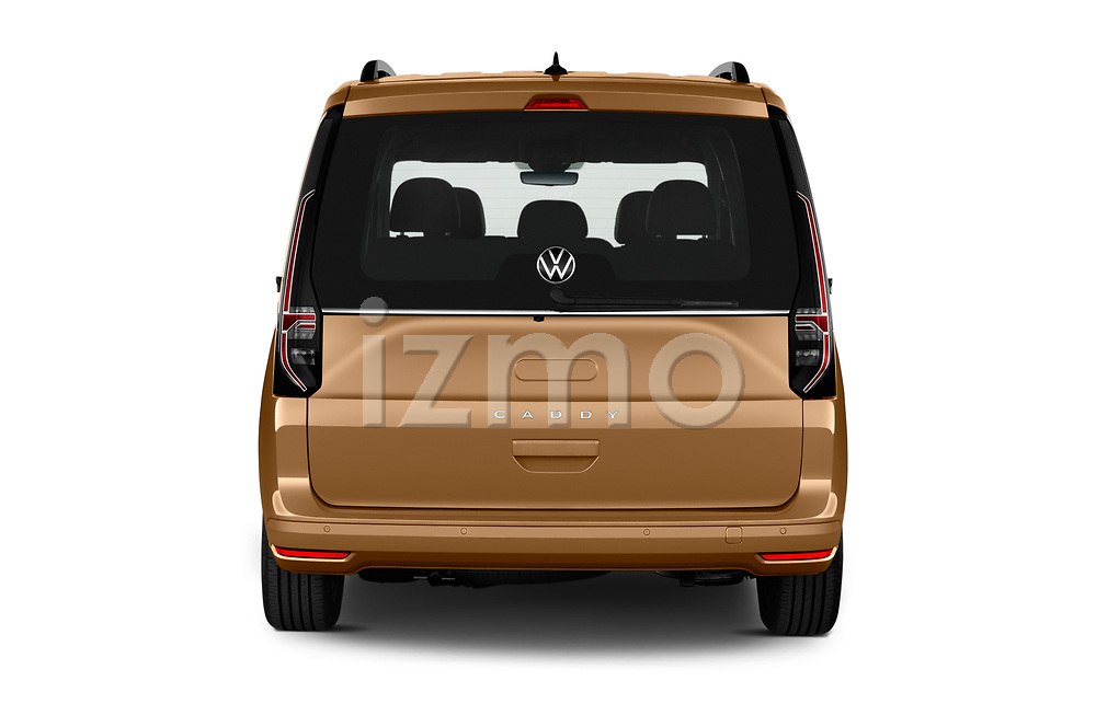 Straight rear view of 2021 Volkswagen Caddy Style 5 Door Mini MPV Rear View  stock images