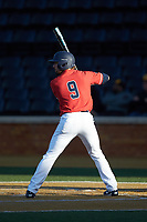 Ayden Karraker (9) of the Liberty Flames at bat against the Wake Forest Demon Deacons at David F. Couch Ballpark on April 25, 2018 in  Winston-Salem, North Carolina.  The Demon Deacons defeated the Flames 8-7.  (Brian Westerholt/Four Seam Images)
