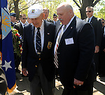 Thousands attend ceremony at the National Museum of the United States Air Force, commemorating the Doolittle Raiders 68th anniversary of raid on Japan by 16 B-25 bombers that flew from U.S.S. Hornet on a mission that many thought impossible. Four surviving members of the group are in attendance. The much-anticipated highlight of the event was a fly-over by 17 of the World War II vintage B-25s.