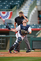 Florida Fire Frogs catcher Zack Soria looks for a foul ball popup in front of umpire Dillon Wilson during a Florida State League game against the Jupiter Hammerheads on April 8, 2019 at Osceola County Stadium in Kissimmee, Florida.  Florida defeated Jupiter 7-6 in ten innings.  (Mike Janes/Four Seam Images)