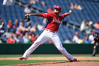Philadelphia Phillies pitcher Elvis Araujo (74) during an exhibition game against the University of Tampa on March 1, 2015 at Bright House Field in Clearwater, Florida.  University of Tampa defeated Philadelphia 6-2.  (Mike Janes/Four Seam Images)