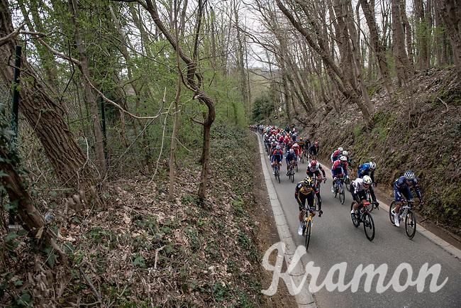 peloton up De Hagaard<br /> <br /> 61st Brabantse Pijl 2021 (1.Pro)<br /> 1 day race from Leuven to Overijse (BEL/202km)<br /> <br /> ©kramon