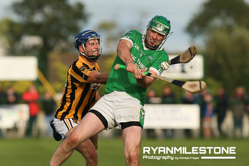 EVENT:<br /> Mid Tipperary Senior Hurling Final<br /> Upperchurch-Drombane vs Drom-Inch<br /> Sunday 29th September 2019,<br /> Littleton, Tipperary<br /> <br /> CAPTION:<br /> Johnny Ryan of Drom-Inch in action against Padraig Greene of Upperchurch-Drombane<br /> <br /> Photo By: Michael P Ryan