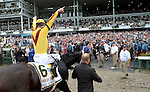 02 August 09: Assistant Trainer Scott Blasi and Owner Jess Jackson lead a victorius Rachel Alexandra and jockey Calvin Borel to the winner's circle after winning the Haskell Invitational at Monmouth Park in West Long Branch, New Jersey.