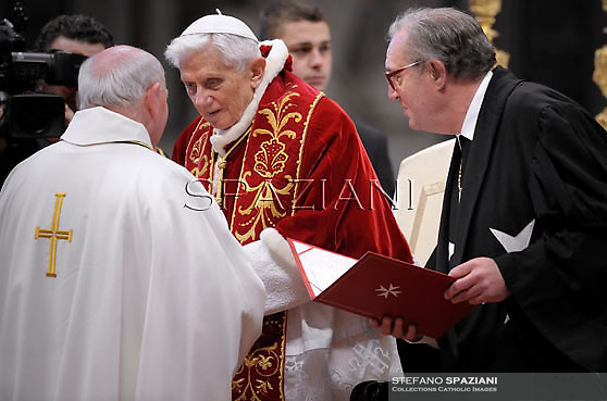 Pope Benedict XVI Knights of the Order Malta Grand Master Matthew Festing during   the mass in St.Peter's Basilica to mark the 900th anniversary of the Order of the Knights of Malta,at the Vatican.  on February 9, 2013 .