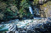 Hidden Falls on Hollyford Track - Fiordland NP, Southland, New Zealand