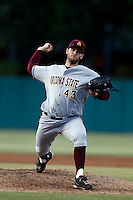 Trevor Williams #43 of the Arizona State Sun Devils pitches against the USC Trojans at Dedeaux Field on April 12, 2013 in Los Angeles, California. USC defeated Arizona State, 5-0. (Larry Goren/Four Seam Images)
