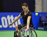 Rotterdam, Netherlands, December 20, 2015,  Topsport Centrum, Lotto NK Tennis, KNLTB, Wheelchait womans single final:   Aniek van Koot (NED)<br /> Photo: Tennisimages/Henk Koster
