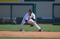 Detroit Tigers second baseman Andre Lipcius (41) fields a ground ball during a Florida Instructional League intrasquad game on October 17, 2020 at Joker Marchant Stadium in Lakeland, Florida.  (Mike Janes/Four Seam Images)