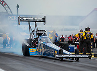 Aug 31, 2019; Clermont, IN, USA; NHRA top fuel driver Leah Pritchett during qualifying for the US Nationals at Lucas Oil Raceway. Mandatory Credit: Mark J. Rebilas-USA TODAY Sports