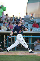 Sean McMullen (29) of the Lancaster JetHawks bats during a game against the Lake Elsinore Storm at The Hanger on August 29, 2015 in Lancaster, California. Lancaster defeated Lake Elsinore 7-4. (Larry Goren/Four Seam Images)