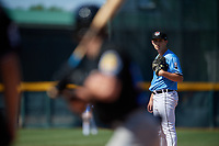 Erie SeaWolves pitcher Drew Carlton (23) during an Eastern League game against the Akron RubberDucks on June 2, 2019 at UPMC Park in Erie, Pennsylvania.  Erie defeated Akron 8-5 in eleven innings in the second game of a doubleheader.  (Mike Janes/Four Seam Images)